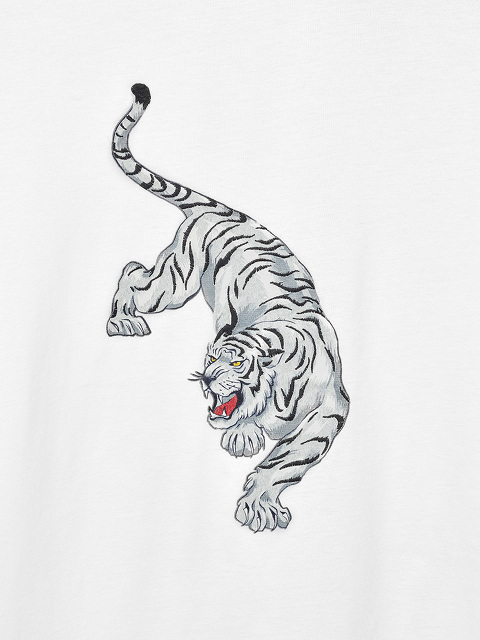 Embroidered Tiger Print T-shirt