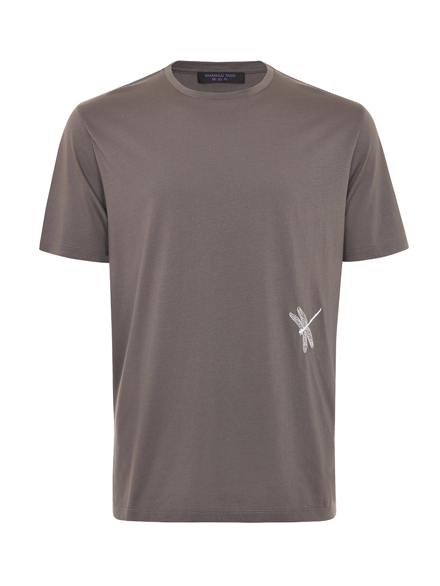 Stretch Cotton T-Shirt with Dragonfly Embroidery