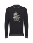 Light Wool Crew Neck Sweater With Tiger And Snake Motif