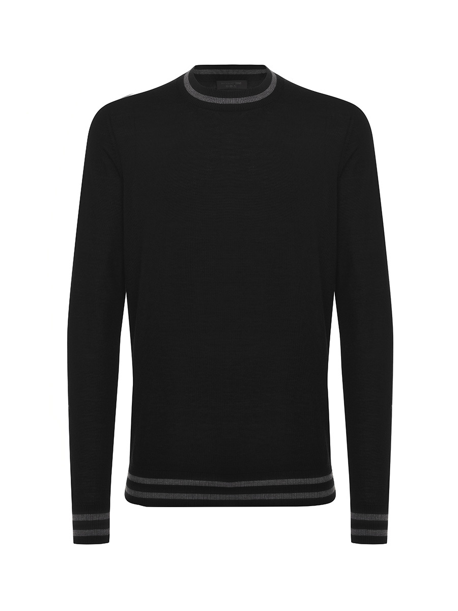 Light Wool Crew Neck Sweater with Dragonfly on Sleeves