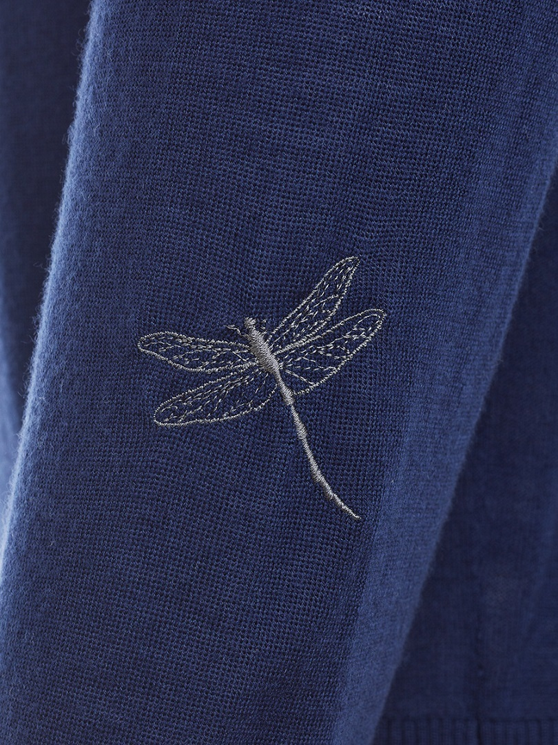 Dragonfly Embroidery Lightweight Wool Sweater