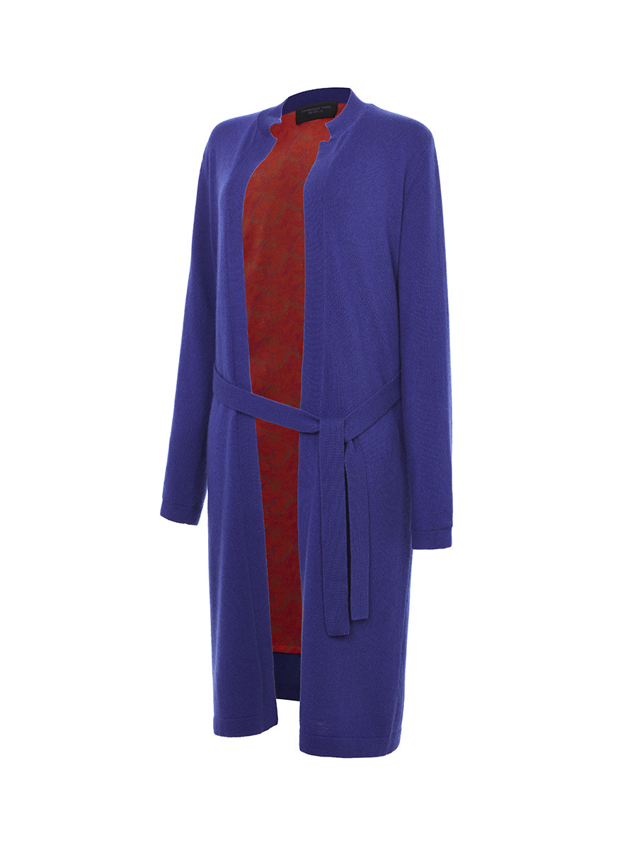Long Cardigan with Frog Button and Same Fabric Belt
