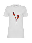 Bird Print and Embroidery Cotton Round Neck T-shirt