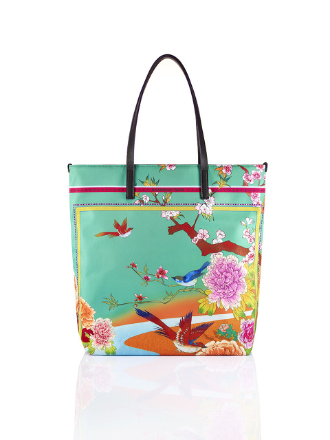 Chinese Landscape Print Shopper Tote – Birds and Flowers