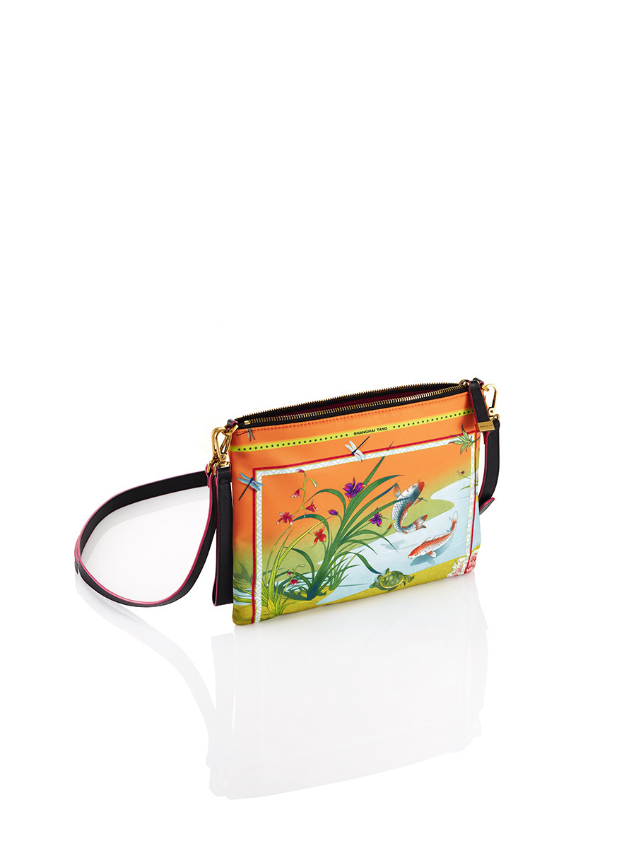 Chinese Landscape Print Nylon 2-way Clutch – Fish and Turtle