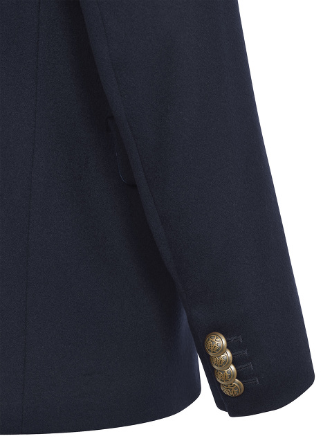 Stand Collar Wool Jacket with Motif Engraved Buttons