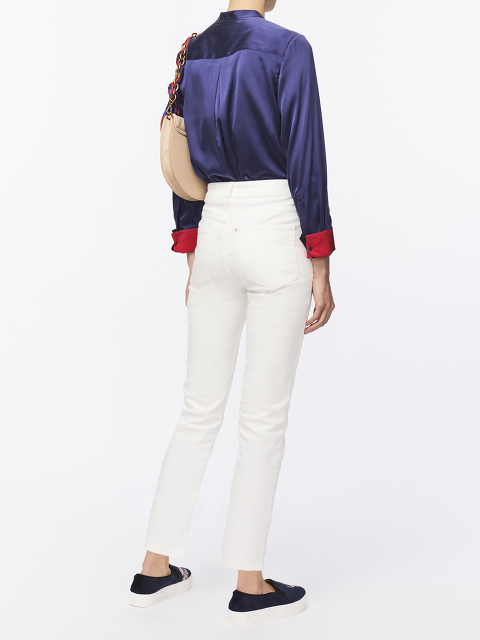 Jewel Button Sandwashed Silk Shirt