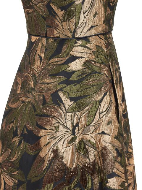 Metallic Floral Jacquard Skater Dress