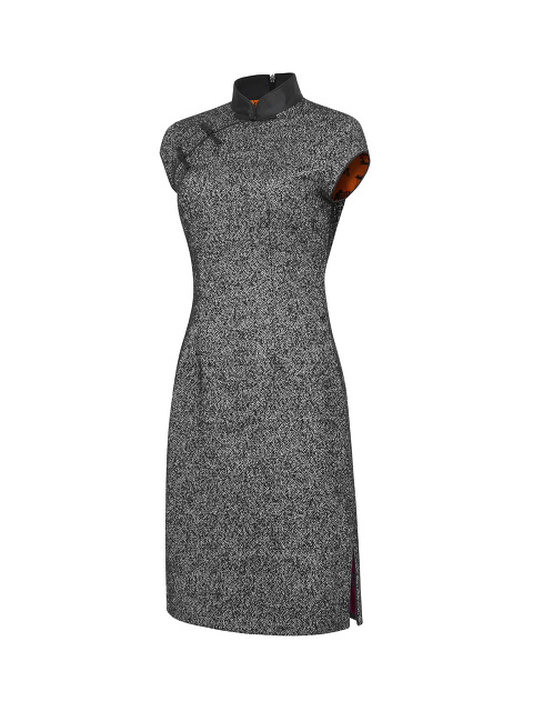 Tweed Qipao with Chinoiserie Silk Lining
