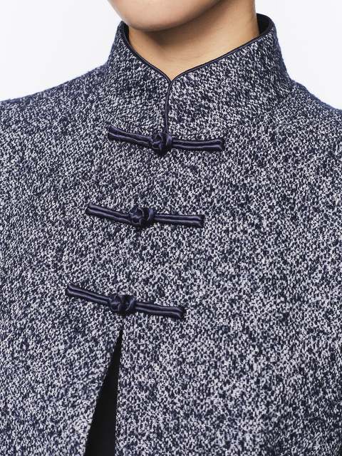 Tweed Chinese Jacket with Chinoiserie Silk Lining
