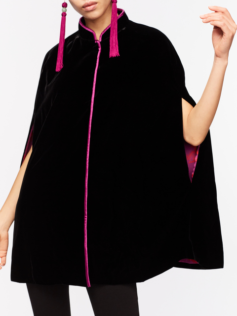 Velvet Cape with Chinoiserie Silk Lining