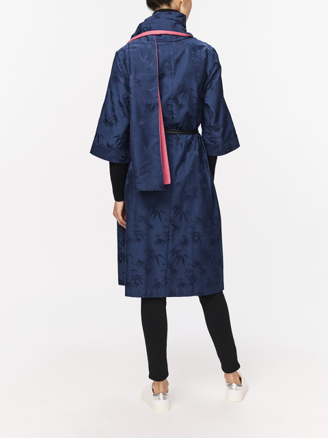 Bamboo Jacquard Kimono Robe with Leather Belt