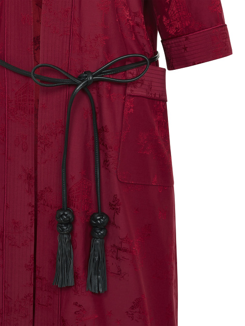 Chinoiserie Jacquard Kimono Robe with Leather Belt