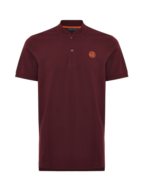 Motif Embroidery Mandarin Collar Polo Shirt