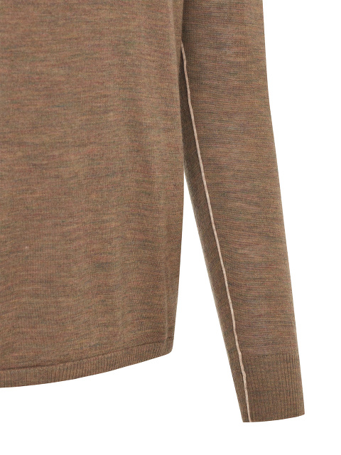 Contrast Piping Merino Wool Sweater