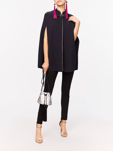 Silk-cotton Knit Cape with Leather Trim