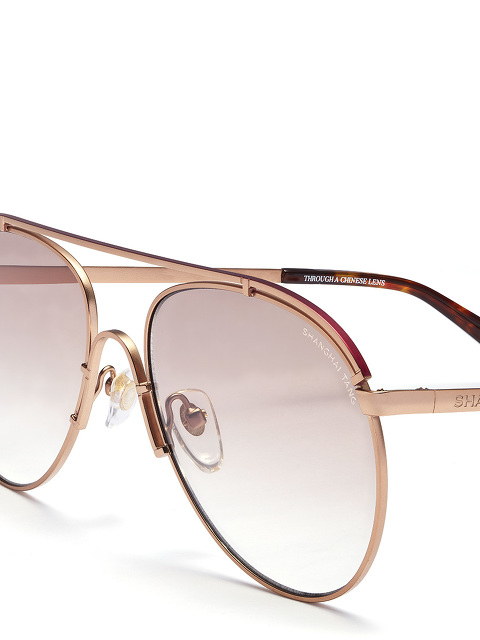 'Fei' Lasered Top Bar Aviator Sunglasses