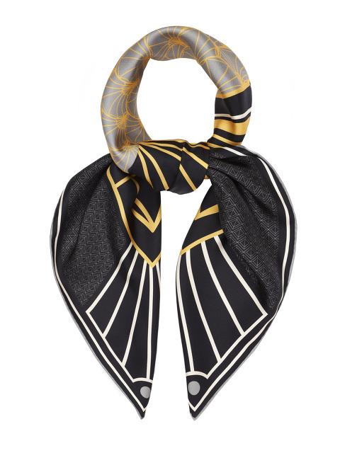 Peacock Art Deco Print Silk Foulard