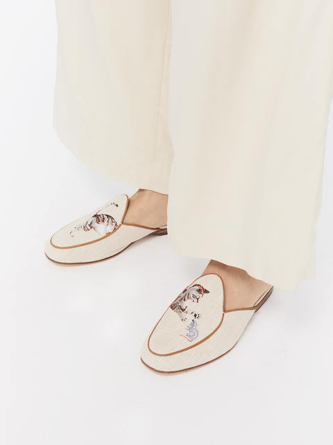 Bing Xu for Shanghai Tang 'Catch Me If You Can' Embroidered Linen Loafer Mules