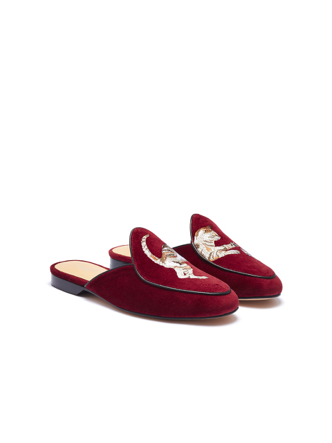 Bing Xu for Shanghai Tang 'Catch Me If You Can' Embroidered Velvet Loafer Mules