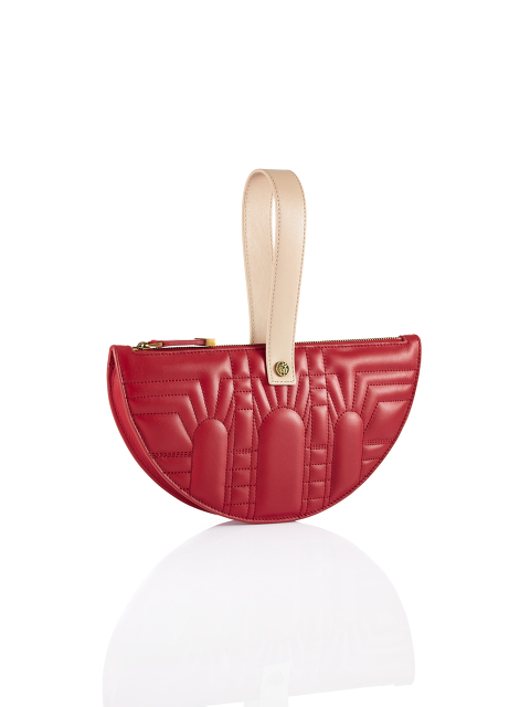 Half Moon Leather Wristlet Clutch