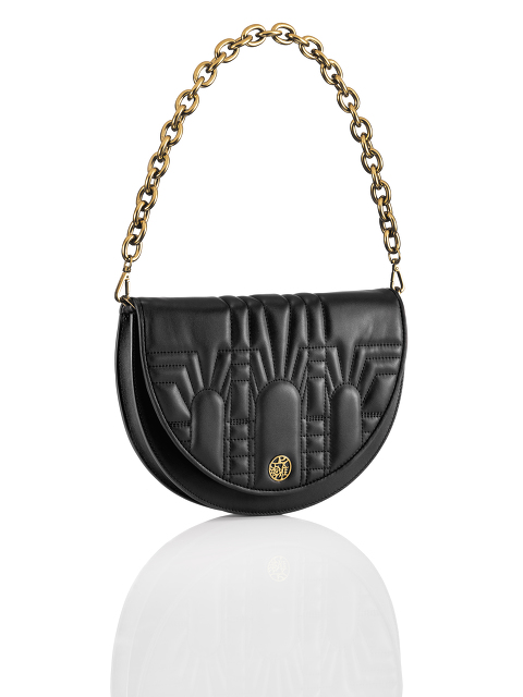 Half Moon Leather 2-way Crossbody Bag