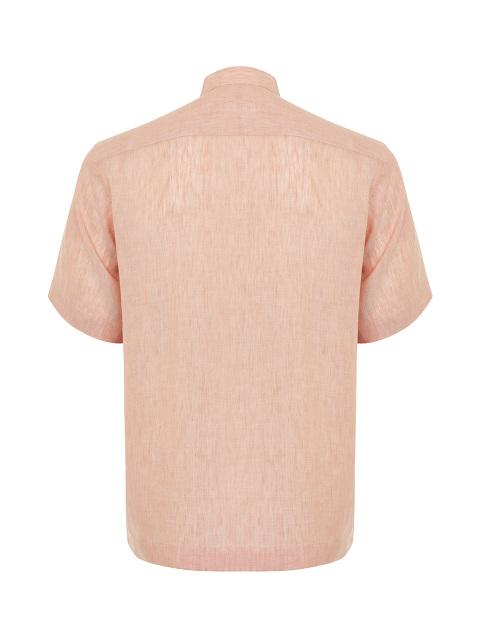 Band Collar Linen-tencel Short Sleeve Shirt