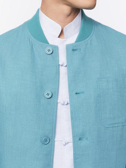 Bomber Collar Linen Jacket