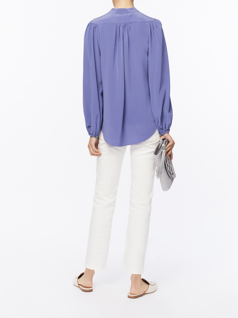 Jewel Button Mandarin Collar Silk Blouse