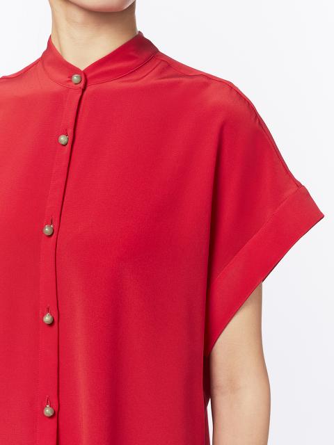 Jewel Button Silk Boxy Blouse