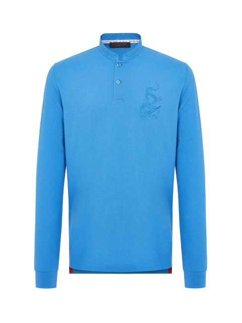 Dragon Embroidery Long Sleeve Polo Shirt