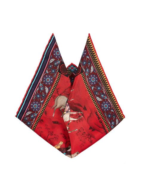 Mongolian Horsemen Print Silk Pocket Square