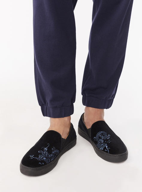 Bing Xu for Shanghai Tang 'Blue Dragon' Embroidered Velvet Slip-ons