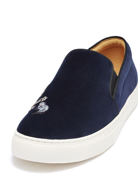 Bing Xu for Shanghai Tang 'Catch Me If You Can' Unisex Embroidered Velvet Slip-ons