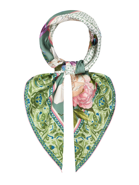 Magnolia Peony and Bird Print Silk Foulard 90