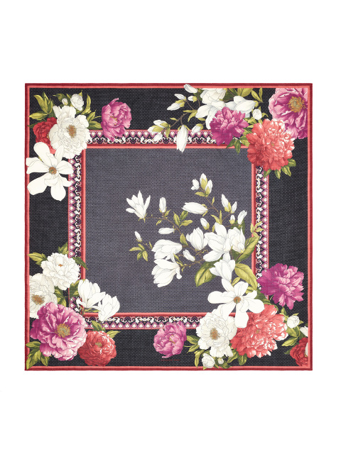Magnolia and Peony Frame Print Wool-Silk Scarf 140