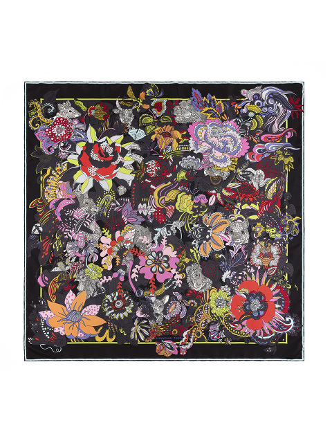 'Hide & Seek' Chinese Zodiac Print Silk Scarf 90