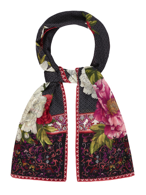 Magnolia and Peony Print Wool-Silk Long Scarf