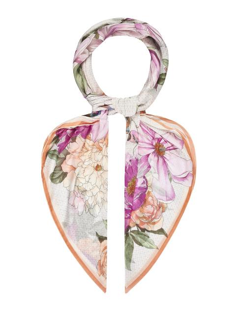 Magnolia and Peony Print Modal-Silk Scarf 140