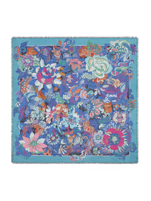 'Hide & Seek' Chinese Zodiac Print Wool-Silk Scarf 140