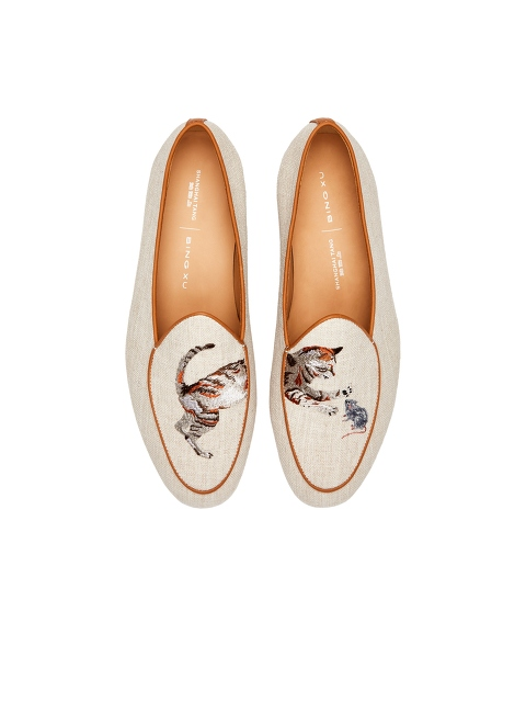 Bing Xu for Shanghai Tang 'Catch Me If You Can' Embroidered Linen Loafers