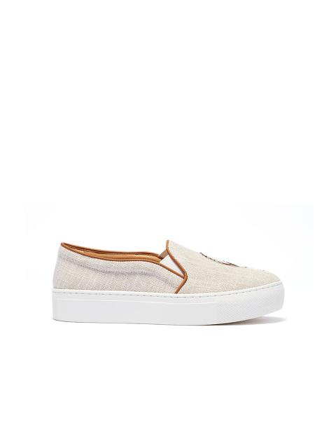 Bing Xu for Shanghai Tang 'Catch Me If You Can' Embroidered Linen Platform Slip-ons