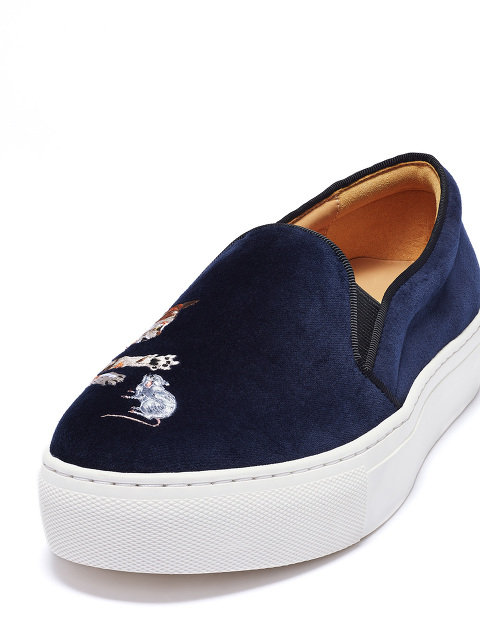 Bing Xu for Shanghai Tang 'Catch Me If You Can' Embroidered Velvet Platform Slip-ons