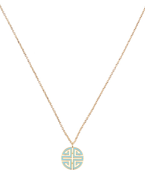 Enamel Shou Pendant Necklace