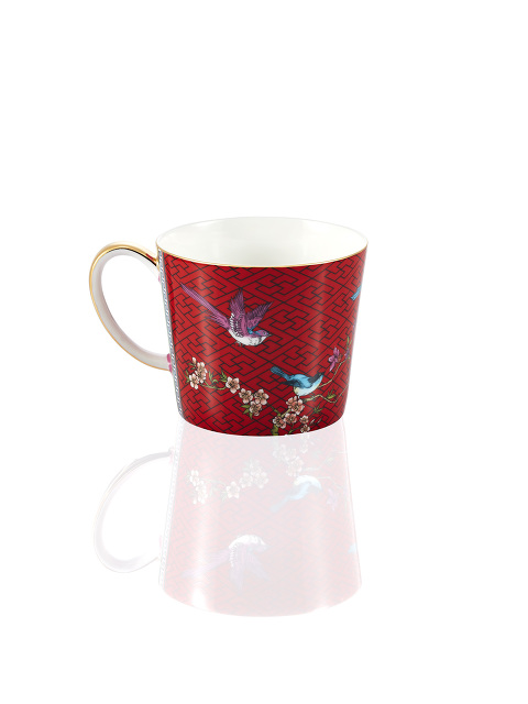 Chinese Garden Bird and Lattice Fine Bone China Soup Mug
