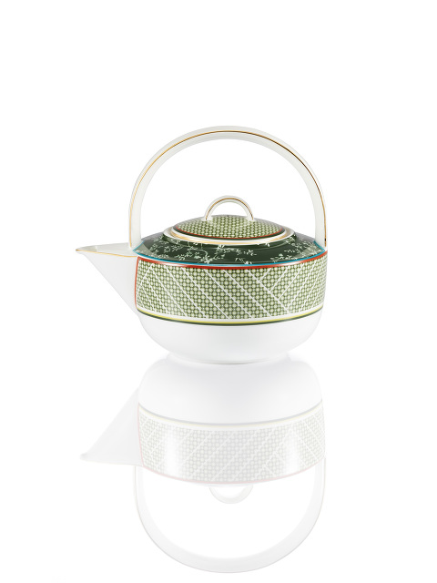 Forbidden Garden Bamboo Lattice Fine Bone China Teapot