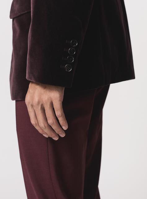 Mandarin Collar 5-button Velvet Jacket