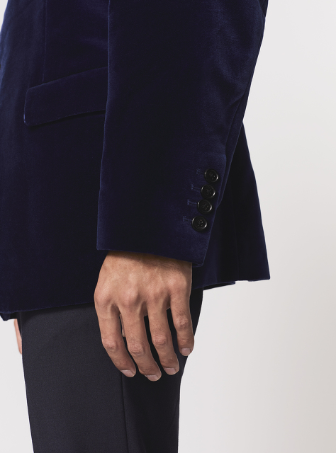 Mandarin Collar 5-button Velvet Jacket