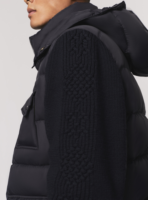 Wool Knit Sleeve Down Jacket with Detachable Hood