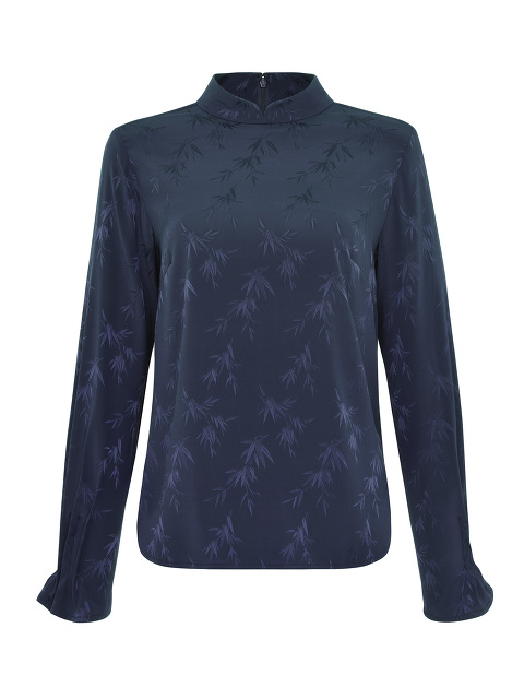 Bamboo Jacquard Mandarin Collar Stretch Silk Blouse